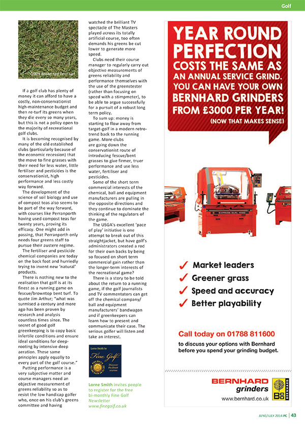 pitchcare magazine a return to a running game